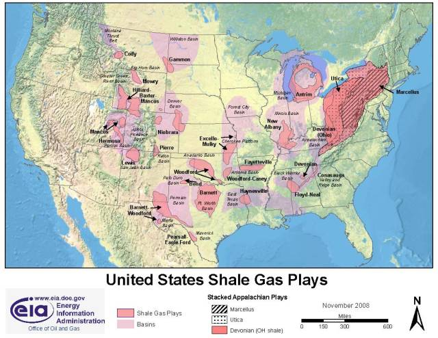 Shale gas deposits in the USA